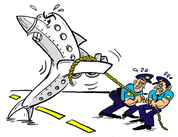 """Art for a """"Tug-Of-War"""" Tournament. This art shows the police officers are stronger than a angry jet engine,"""