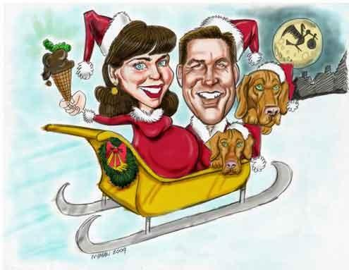 The digital illustration shown here was created as a holiday card for a expecting mother to be.